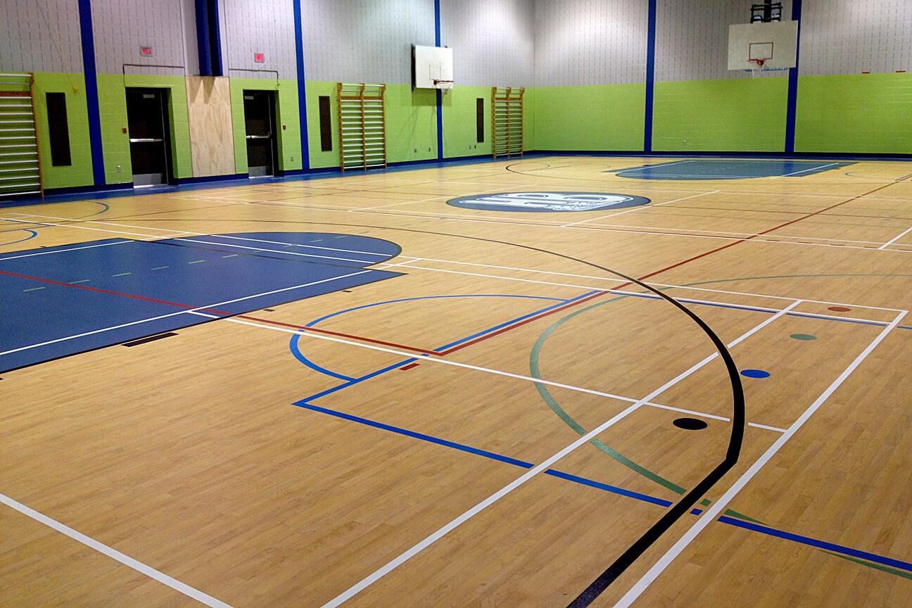 Plancher de gymnase Omnisports 6.5 à l'école des Hauts-Bois (Mascouche, Québec)