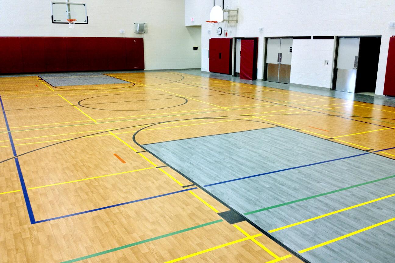 High school gym floor markings carpet review for Gym flooring