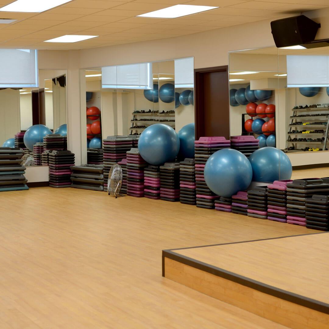 Group class area for aerobics