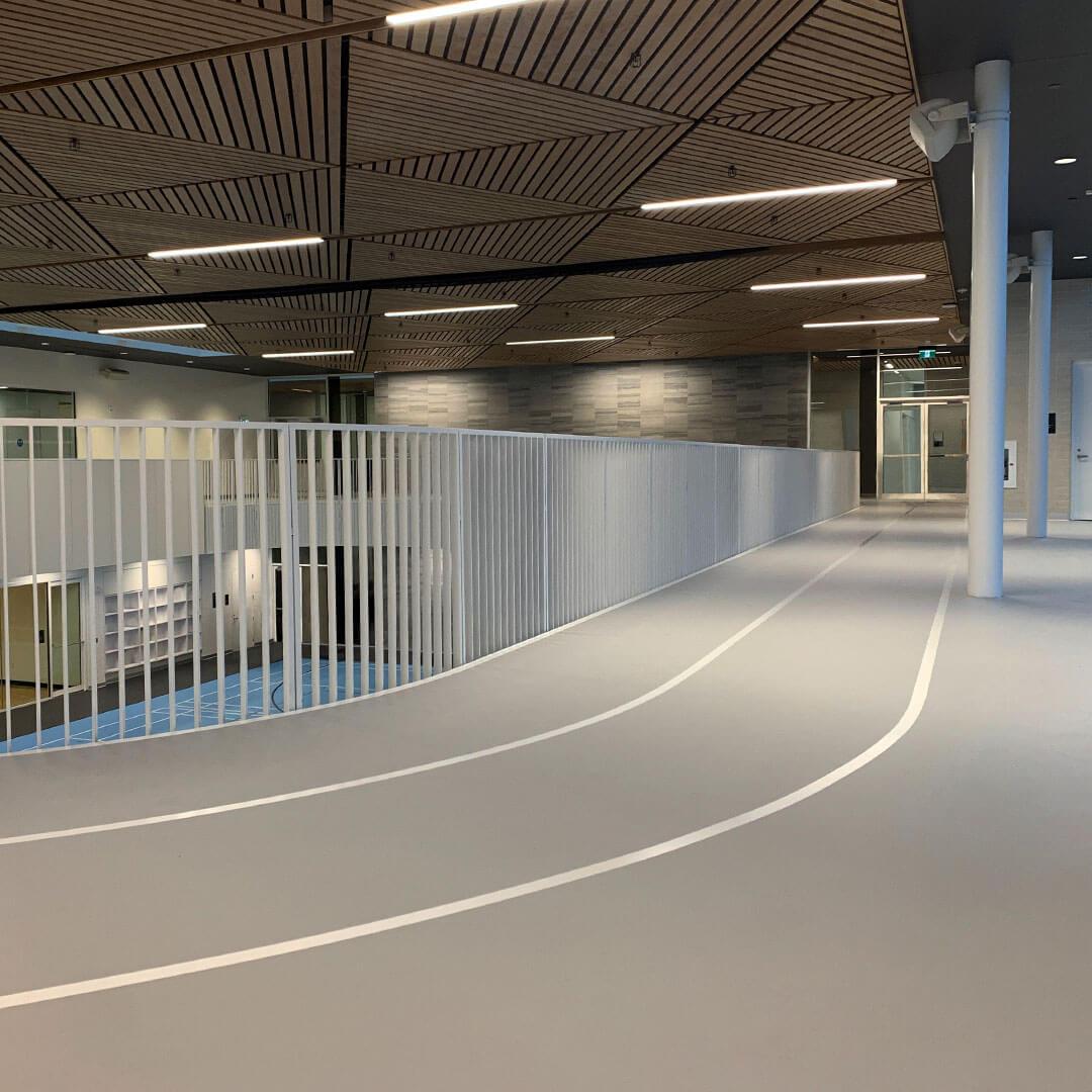 Polyurethane poured floor running track