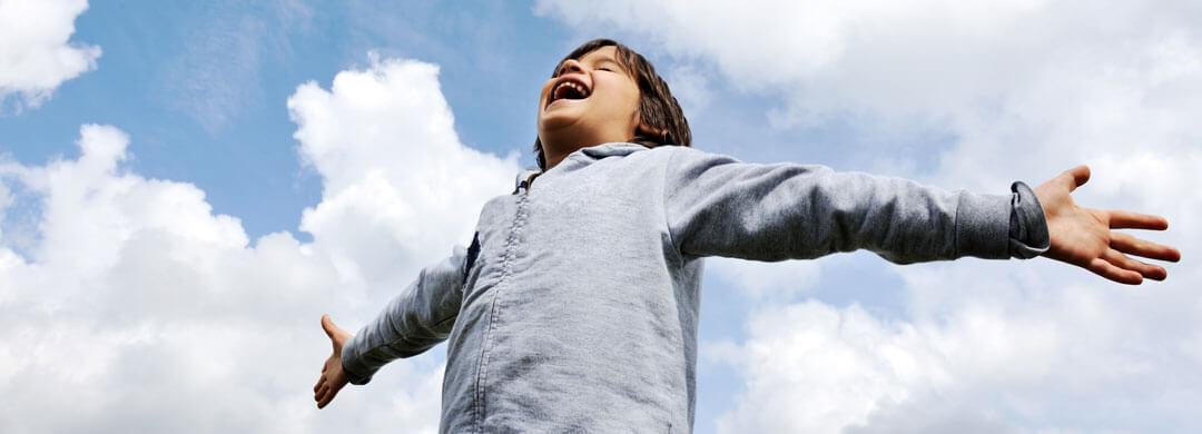 Child breathing fresh air
