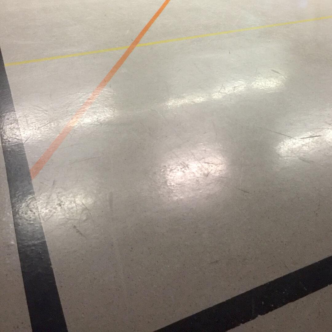 Slippery and hard gymnasium floor