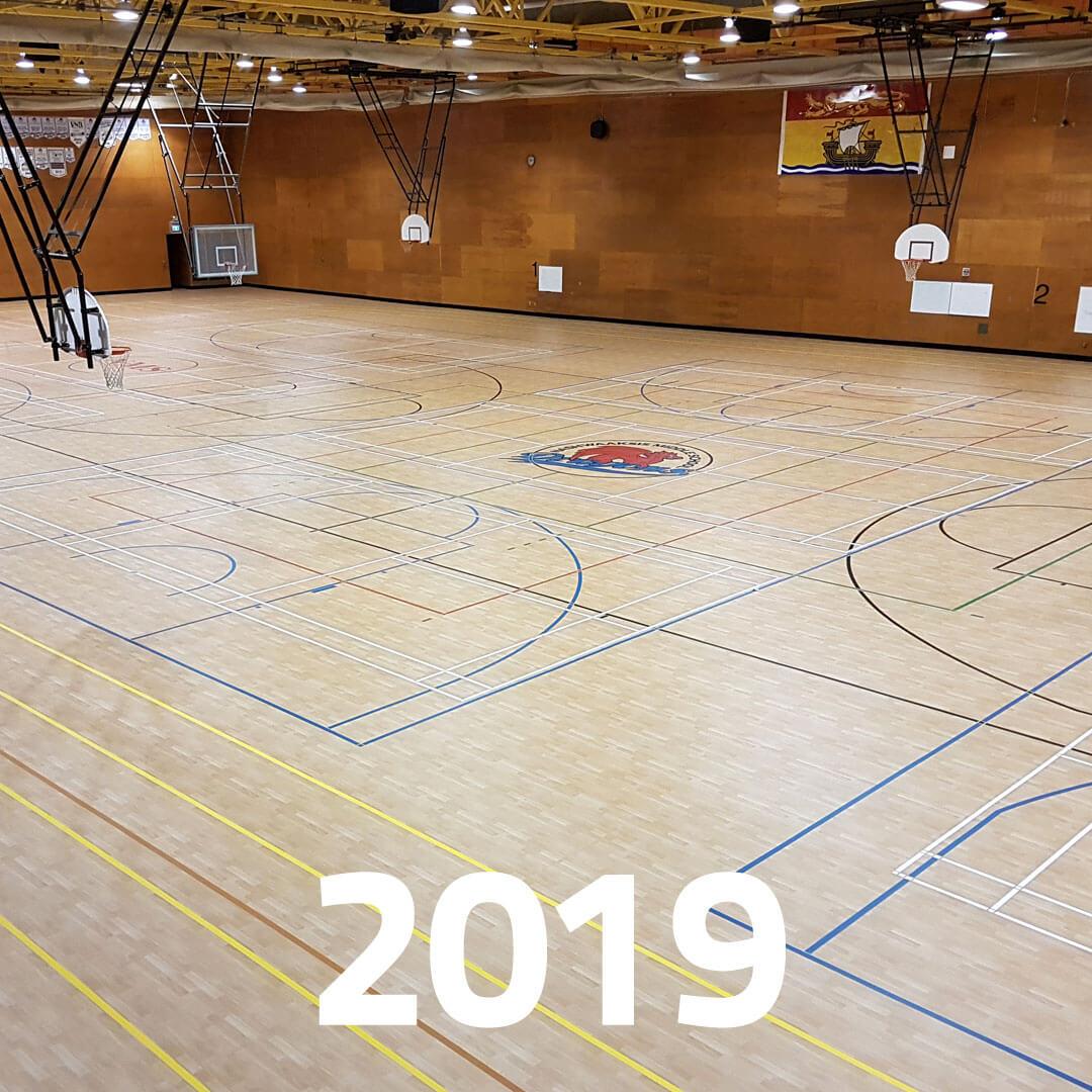 Current large indoor sports floor