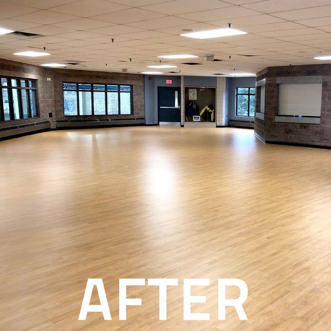 Shock absorbing floor in sports room